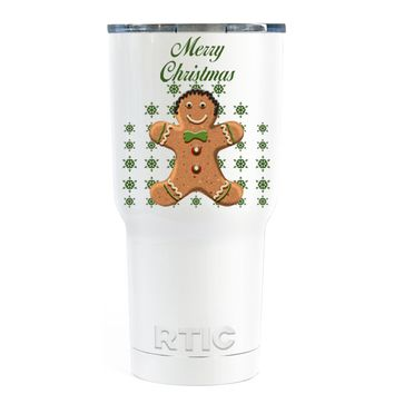 RTIC Merry Christmas Gingerbread Man on White 30 oz Tumbler Cup