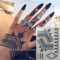 Flash gold metallic henna fake bodystocking tatoo temporary tattoo stickers arabic golds glitter large temporary tattoos