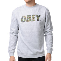 Obey Camo Font Heather Grey Crew Neck Sweatshirt at Zumiez : PDP