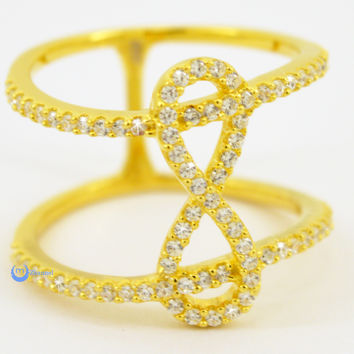 "Infinity ""8"" Ring Double Fashion Ring Pave Signity CZ 24K Gold over Sterling Silver"