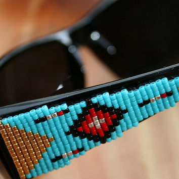 Beaded Sunglasses - in a Peyote Beaded Southwest Design - Seed Bead colors of turquoise, gold, red, black