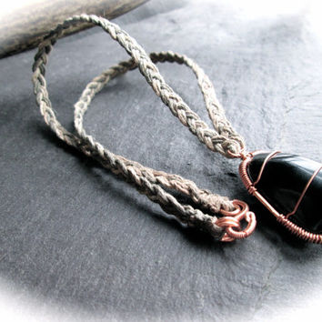 Black Tourmaline Hemp Necklace, Wire Wrap Copper on Braided Natural Ombre Hemp, Metaphysical Healing, Wicca Shaman Black Crystal Jewelry, UK