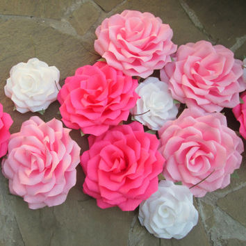 12 Giant Paper Flowers/Giant Paper Roses/Wedding Decoration/Arch Flowers/ Table Flower Decoration/  Pink And White Roses