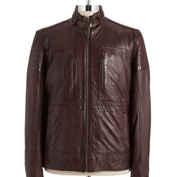 Hugo Boss Leather Moto Jacket