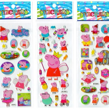 6 Sheets/set Pink Pig Stickers+1 Random Cute Sticker Laptop Luggage Fridge Skateboard Toy Home wall decor Doodle 3D Stickers
