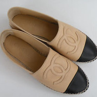 CHANEL ESPADRILLES TAN BLACK LEATHER 37 NEW IN BOX EBOUTIQUE SPRING 2013