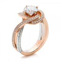 Custom Rose Gold and Platinum Diamond Engagement Ring | Joseph Jewelry Seattle Bellevue