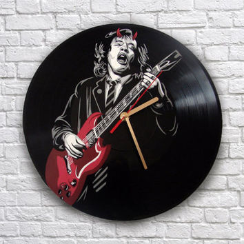 AC/DC Angus Young painted vinyl record clock. Wall clock. Gift for music lover