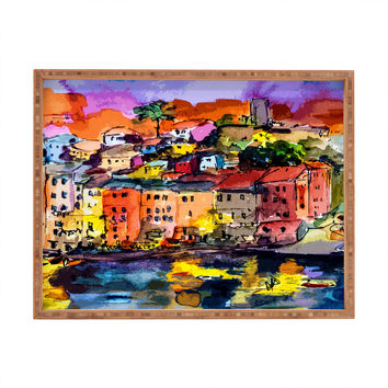 Ginette Fine Art Dolce Vita In Vernazza Rectangular Tray