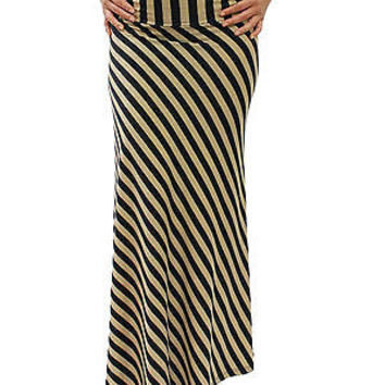 New Sexy Comfy Stretch Beige & Black Stripes Maxi Long Skirt Size S M L LUV205