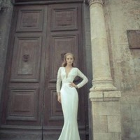Chiffon and Lace V-Neck Mermaid Sexy Wedding Dresses - Basadress.com
