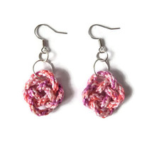 pink knot earrings, celtic fashion jewelry, textile jewelry from kumihimo strand, ooak dangle earrings, valentines gift