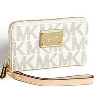 Michael Kors Signature Wallet Tech Wristlet - Vanilla