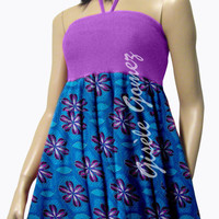 African Print Convertible Dress/Skirt - Mamiwatah Dress in Purple Lycra And Orange Ankara Wax - PLUS SIZES - Transforms into Dresses/Skirts