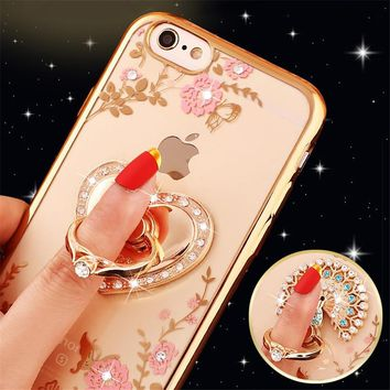 Luxury Glitter Rhinestone Holder Case Kitty Perfume Love Heart Clear Soft Phone Cases For iPhone 5 5s 6 6s 6Plus 7 8Plus X XS XR