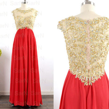 Red Long Prom Dresses, Custom Golden Lace Straps and Chiffon  Long Red Formal Gown, Lace Straps Long Prom Gown