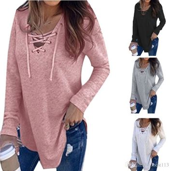 9 Fashion Women Long Sleeve Spring Blusas Sexy Deep V Neck Bandage Shirts Women Lace Up Tops Tees Clothes