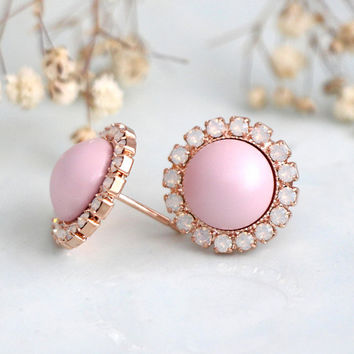 Pink Earrings, Dusty Pink Earrings, Bridesmaids Pink Earrings, Crystal Baby Pink Stud Earrings, Bridal Pink Pearl Earrings, Gift For Her