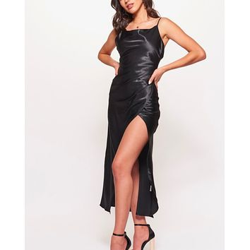 cowl neck satin maxi dress with side slit in black
