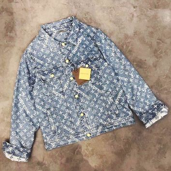 '' LV x Supreme ''Fashion Distressed Denim Cardigan Jacket Coat