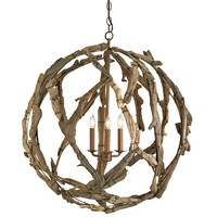 Currey  Co Driftwood Orb Chandelier - Currey-co-9078  | Candelabra, Inc.