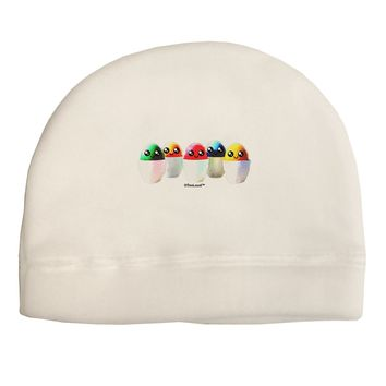 Kawaii Easter Eggs - No Text Child Fleece Beanie Cap Hat by TooLoud