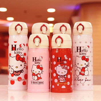 Cute Hello Kitty Stainless Steel Double Wall Vacuum Flask Coffee Mug Travel Tumbler Water Bottle Insulated Thermos Car Cup