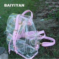 Stylish Transparent PVC Backpacks Korean women's Beach Bag Female Jelly Backpack ladies Clear Personalized Backpacks