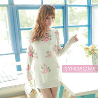 Korean Floral Ripped Sweater