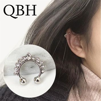 New Fashion Clip Earrings For Women Imitation Pearl Cross Triangle Crystal Hollow U-shaped Ear Bone Cuff Invisible Men Jewelry