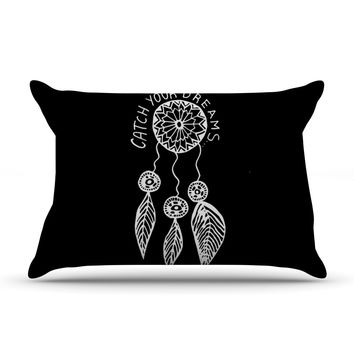 "Vasare Nar ""Catch Your Dreams Black"" White Typography Pillow Case"