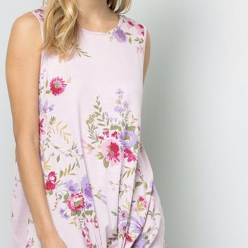 Floral Tie Knot Tank in Rose