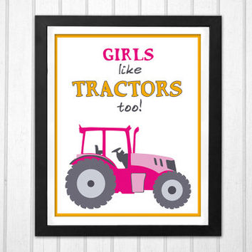 Pink Tractor Nursery Art Print for girls who also like work vehicles and heavy machinery INSTANT DOWNLOAD