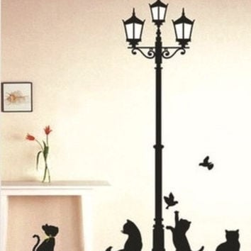 Popular Ancient Lamp Cats and Birds Wall Sticker Wall Mural Home Decor Room Kids = 1929853316