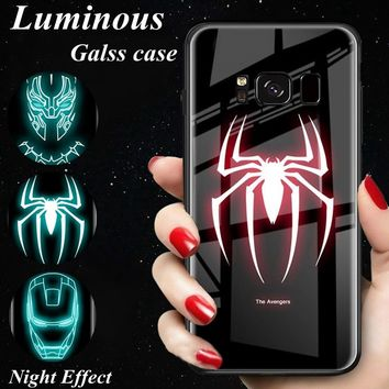 S9 S8 Luminous Glass Case For Samsung Galaxy Note 9 8 Marvel Black Panther Cover for Samsung Galaxy S8 S9 plus Note9 Case Coque