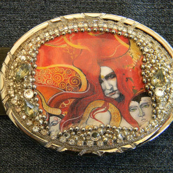 Women's Belt Buckle Red Hot Wearable Art