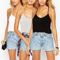 ASOS The Ultimate Crop Cami 3 Pack Save 20% at asos.com
