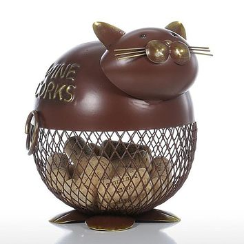 Puffy Cat Wine Cork Container Vintage Home Decor Metal  Sculpture Animal Decoration Craft Gift