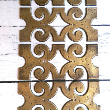 Vintage Brass Tiles/ Brass Wall Hanging/ Geometric Art/ Vintage Border Tile/ Gold Tiles/ Mosaic Tiles/ Gold Decals/ Brass Wall Art