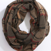 Plaid Infinity Scarf - Brown