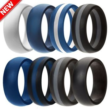 Silicone Wedding Ring Men Rubber Band 4 PACK Comfortable Look Sport Gift 2018