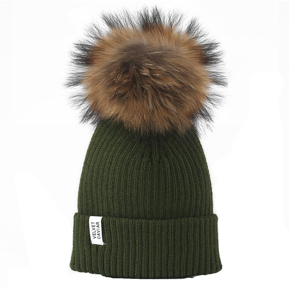 f4a8a30d905 LUX FUR POM BEANIE OLIVE from Velvet Caviar