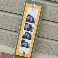 Picture Frame - Holds Photo Booth Picture Strip - Distressed Wood - Gray & Harvest Yellow