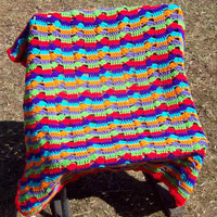 Bright Colorful Stripes And Clusters Lapghan by amydscrochet