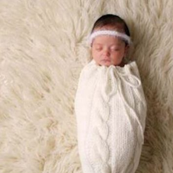 White Knit Newborn Prop Cocoon Sleeping Bag Sack - CCSB