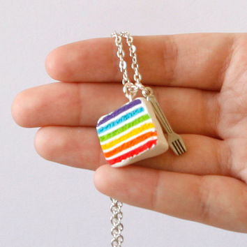 Rainbow cake necklace dollhouse food Polymer clay