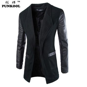 PUNKOOL 2016 Spring Winter Woolen Mens Trench Coat Leather Sleeves Open Stitch Slim Fit Brand Jacket Overcoat Male Free Shipping