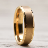 6mm Yellow Gold Tungsten Carbide Gold Plating Wedding Band Ring