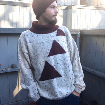 Vintage 70s Hand Knit Turtle Neck Sweater Mens Size L Geometric Maroon Triangle Pattern New Wave Over Sized Boyfriend Pullover Cosby Sweater