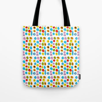 multicolor 3 polka dot-polka dot,pattern,dot,polka,circle,disc,point,abstract,kitsch Tote Bag by oldking